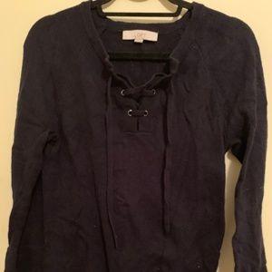 LOFT Navy Lace-up flare sleeve sweater